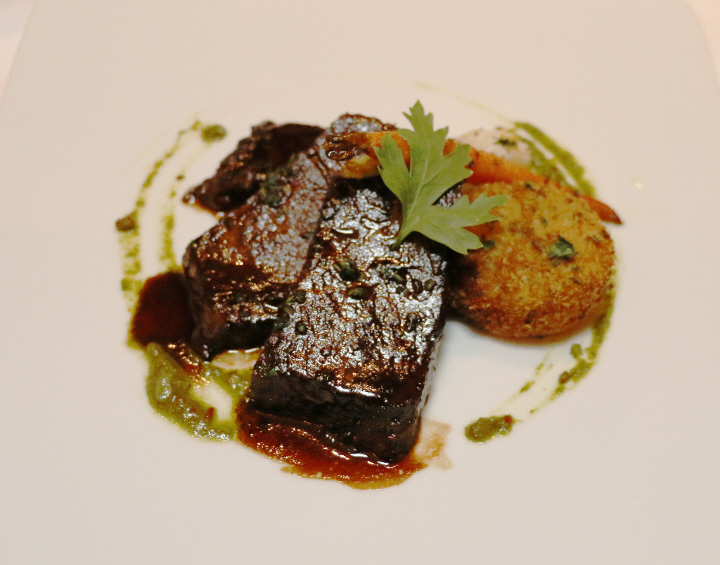 Slow Braised Beef Short Rib with Poached Onions, Roasted Baby Carrots ...